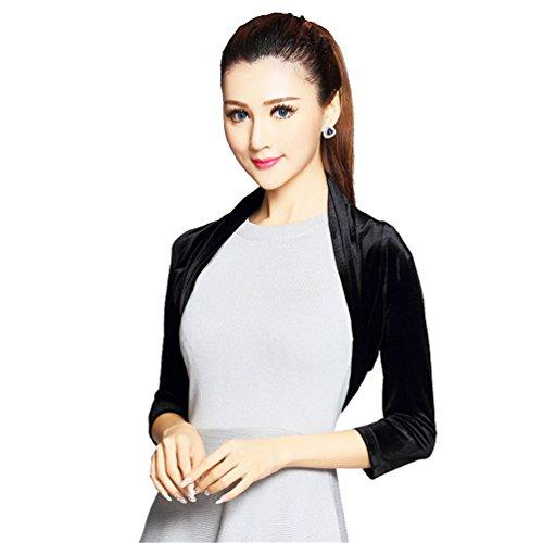ModeC Women's Long Sleeve Velvet Bolero Shrug Top Outwear Coat Cardigan Jacket Black2 Medium -