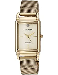 Anne Klein Womens AK/2970CHGB Diamond-Accented Gold-Tone Mesh Bracelet Watch