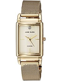Womens Diamond-Accented Gold-Tone Mesh Bracelet Watch