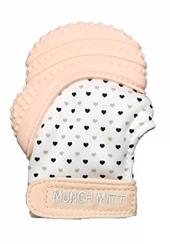 Munch Mitt Pastels Specialty Collection- Original Silicone Teether Mitten- Like Teething Toys or Teething Ring Provides Self-Soothing Fun- Ideal Baby Shower Gift with Handy Travel Bag - Pastel Pink