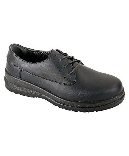 Alexandra stc-fw520bk-7Mujer Zapatos de seguridad, Plain, piel, tamaño: 7, Negro