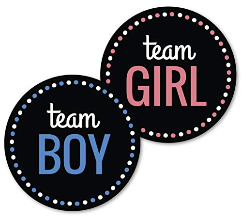 (Deluxe Gender Reveal Party Stickers, Team Boy and Team Girl, Baby Shower Voting Labels, Party Supplies Decorations Games, Pink and Blue 60 Pack- 30 of each)