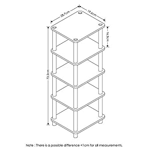 FURINNO LAci 4-Bins System Rack, Oak/Black/Light Brown