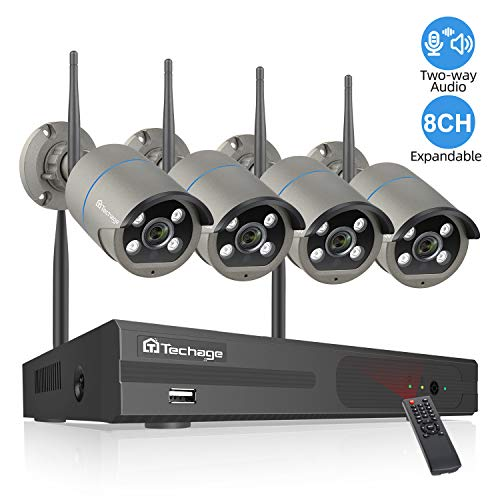Techage Security Camera System Wireless, 8CH 1080P WiFi Surveillance Camera System Wireless,4 Weatherproof IP Cameras Auto Pair WiFi H.265 NVR,Two-Way Audio,Motion Alerts,Remote View(No Hard Drive)