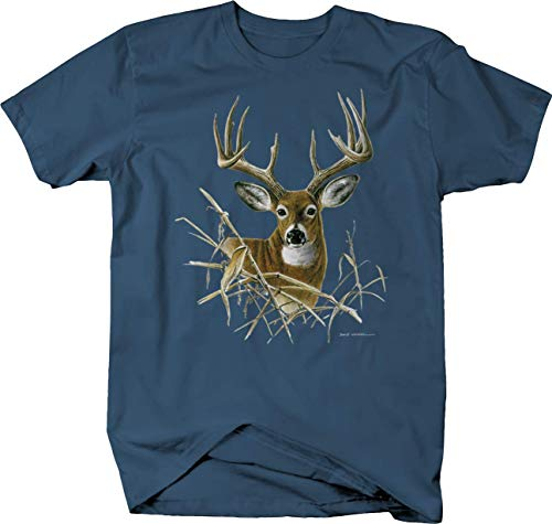 - Big Buck Deer Looking Through The Branches Wildlife Hunting Tshirt - XL Denim