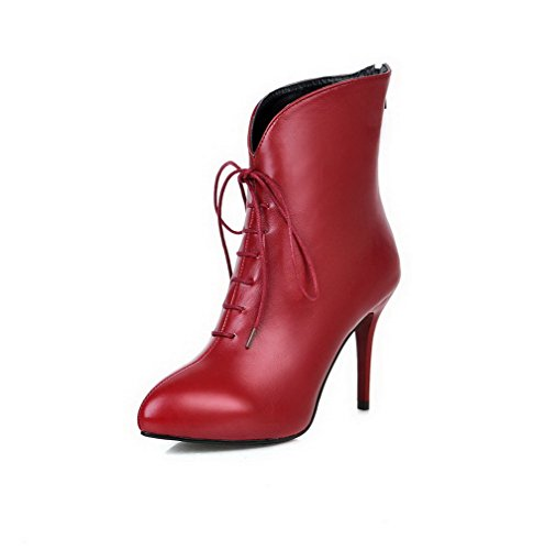 Zipper Boots Womens AllhqFashion Toe Pointed Low Heels Material top Red Soft Closed High AaABZqxw