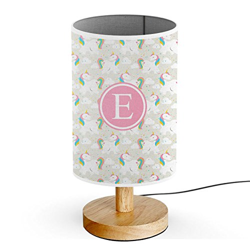 - [ INITIAL LETTER E ] Monogram Name USB POWERED Wood Base Desk Table Bedside Lamp [ Rainbow Unicorns Exist ]