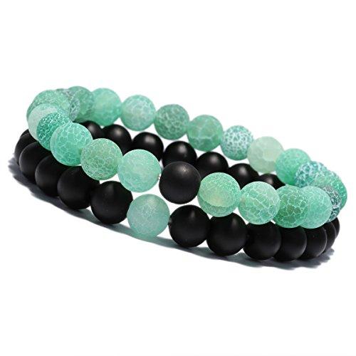 YUXI 2 PCS/Set 8 mm Beads Stone Couple Distance Strand Bracelet Lovers Gifts Jewelry (Black & Green) by YUXI
