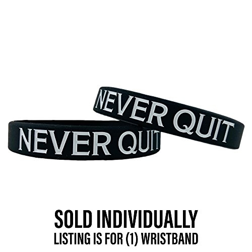 (Elite Athletic Gear Motivational Wristbands - Standard & Youth Sizes! Perfect for Fitness, Sports, Work, Life. Wear Your Motivation! (Never Quit, Standard))