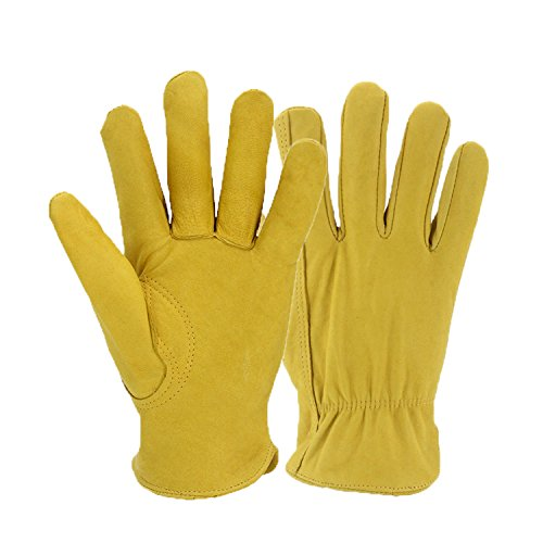 Flexible Goatskin Leather Work Gloves For Man And Women. Yellow Premium General Purpose Utility Gloves, Great Gardening Gloves, Outdoor Working Gloves and Drivers Gloves. With Elastic Wrist (Medium)