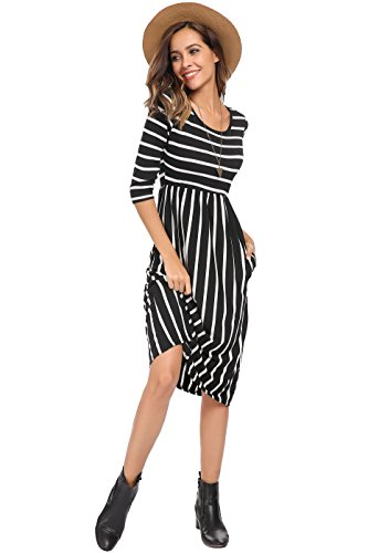 Tshirt Dress with Pockets,Women's 3/4 Sleeve A-line Spring Midi Long Dress with Pockets Black,XXL