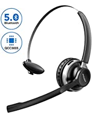 Mpow V5.0 Bluetooth Headset with Mic, Dual Noise Cancelling, All Day Comfort Truckers for Long Hual, Over The Head for Call Center(Wired Optional)