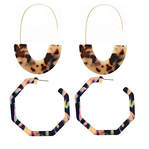 Resin Hoop Earrings Mottled Acrylic Statement Earrings Tortoise Lightweight Dangle Drop Bohemia Fashion Jewelry for Women Girls (AC-Leopard&Purple)