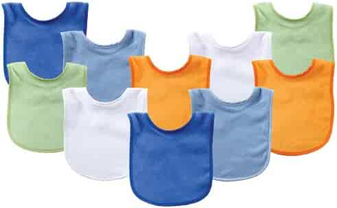 Luvable Friends Drooler/Feeder Bib 10-Pack, Assorted Blue, One Size