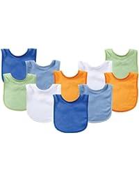 Unisex Baby Cotton Terry Bibs, Blue Orange, One Size