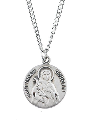 Pewter Saint St Maria Goretti Dime Size Medal Pendant, 3/4 Inch (Maria Medal Goretti Saint)