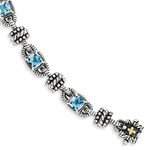 Sterling Silver avec 14 carats avec topaze bleue 6.86Swiss JewelryWeb Bracelet 19 cm