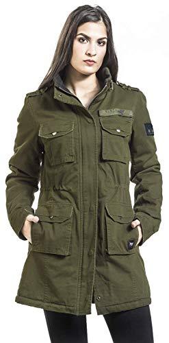 Black Premium by EMP Veste De Style Militaire Femme Veste d'hiver Olive L