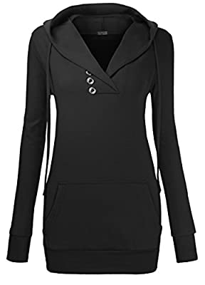 Miurus Women Vintage Wrapped V Neck Long Sleeve Pullover Sweatshirt Hoodie