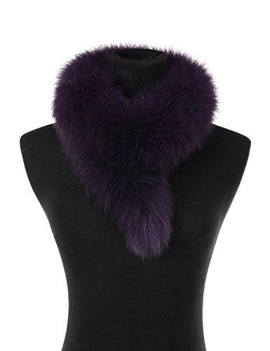 Ferand Ladies Elegant Real Fox Fur Collar Scarf Wrap for Women, Purple ()