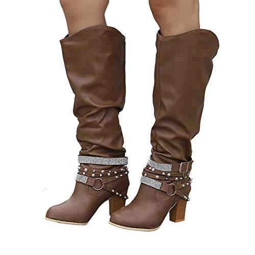 Women Anglewolf Shiny 7 Coffee Ladies Medium Heel nbsp; Long Heeled Shoes Belt Military Bootie Ankle High Martin Low Thick UK Strap Buckle Retro Black Rivets Heels Fashion Faux Boots Bottom Boots Px7nqrwAP0