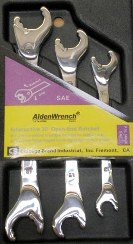 Alden Wrench 56038 Double Head Ratching Open-End Wrench, 3 Piece Set, SAE by Alden