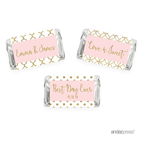 Andaz Press Blush Pink Gold Glitter Print Wedding Collection, Personalized Chocolate Minis Labels, Fits Hershey