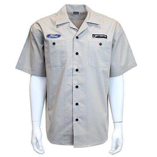 David Carey Ford F-150 Work Shirt – Grey – Button Up Collared Short Sleeve Mechanic Camp/Club Shirt, XL