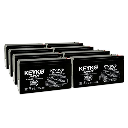 Deltec PRM450 UPS 12V 7Ah SLA Sealed Lead Acid AGM Rechargeable Replacement Battery Genuine KEYKO (F1 Terminal W/F2 Adapter) - 8 Pack by KEYKO