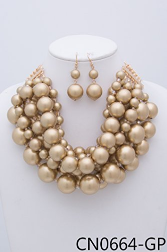 StyleNo1 {CN0664 WOMEN'S FASHIONABLE MULTI BIG PEARL NECKLACE AND EARRINGS SET - Designed In USA (GOLD) by StyleNo1 (Image #2)