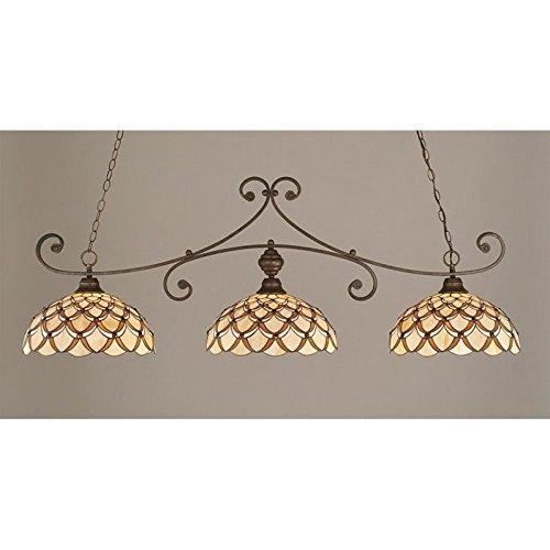 Toltec Lighting 353-BRZ-993 Curl - Three Light Billiard, Bronze Finish with Honey/Brown Scallop Tiffany Glass ()