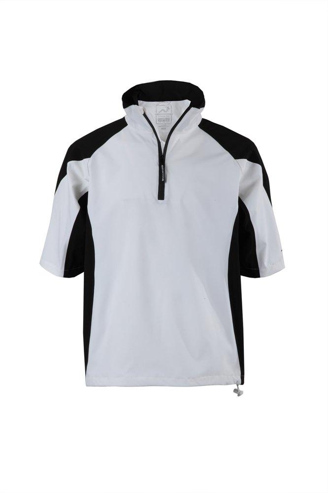 Woodworm Golf Mens Waterproof Rain Jacket Top – Short Sleeve Pullover Wind Top – European Fit Wht 2X