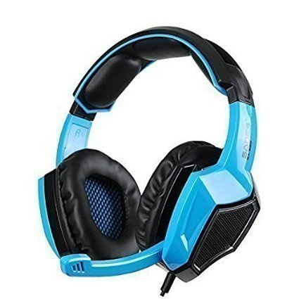 Sades 920 wired gaming headset for Pc/Mac/Xbox 360/Ps4/Cellphone,5 in 1 headphone with mic (black blue) ()
