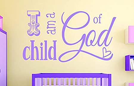 Design with Vinyl RAD 1106 1'I Am A Child of God Kids Baby Boy Girl Bedroom Bible Quote' Vinyl Wall Decal, 12' x 18', Pink