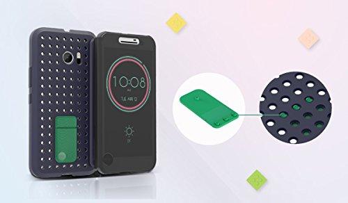 buy popular 0dbb9 753ec Amazon.com: HTC 10 Klik Ice View Flip Case - Graphite Blue: Cell ...
