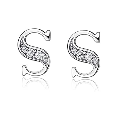 YFN S925 Sterling Silver Cubic Zirconia 26 Initial Letters Alphabet Personalized Charm Pendant Necklace