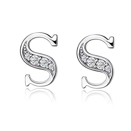 YFN S925 Sterling Silver Cubic Zirconia 26 Initial Letters Alphabet Personalized Pendant Necklace (Initial S Earrings)