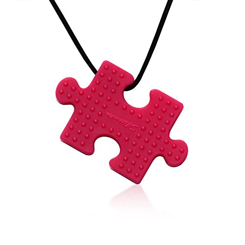 Puzzle Pendant Duo - Silicone Necklaces (Teething, Nursing, Sensory) (Fuchsia Pink/Plum Purple) by Siliconies (Image #2)