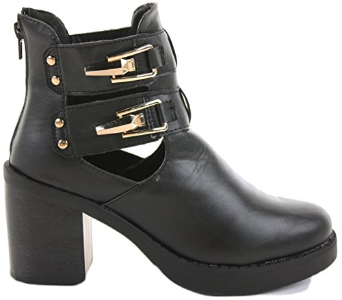 WOMENS LADIES CHELSEA MID HIGH HEEL BOOTIES HEELED BLOCK PLATFORM WINTER ANKLE BOOTS SIZE 3-8 Style 13 - Black Faux Leather