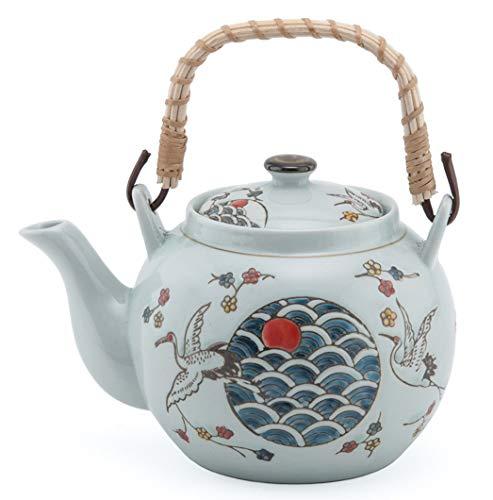 Japanese Style Porcelain Red Crowned Crane Design Ceramic Dobin Teapot with Rattan Handle 38 fl oz Teapot with Stainless Steel Infuser Strainer for Loose Leaf Tea (Tea Pot)