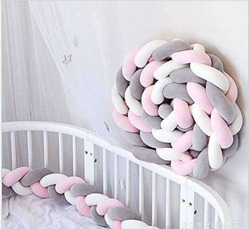 YIKANWEN Bettumrandung,Baby Nestchen Bettumrandung Weben Kantenschut Kopfschutz Stoßfänger Dekoration für Krippe Kinderbett,Länge 2M(Grau+Weiß+Rosa)