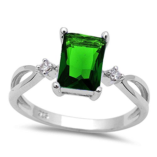 Radiant Cut Simulated Emerald & Cubic Zirconia .925 Sterling Silver Ring Size 6 Cubic Zirconia Emerald Ladies Ring