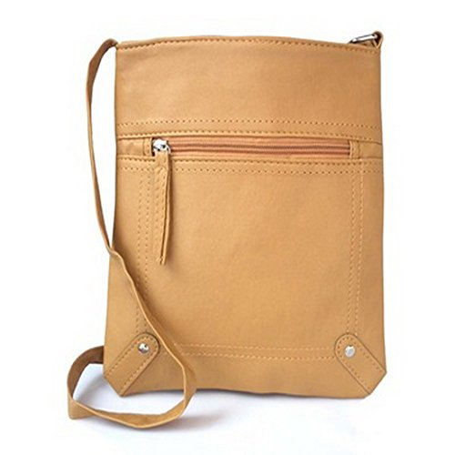 PU Veritable Bandouliere Casual Main Youthny Sac Portable Retro en Femme Jaune Y4WBqwF