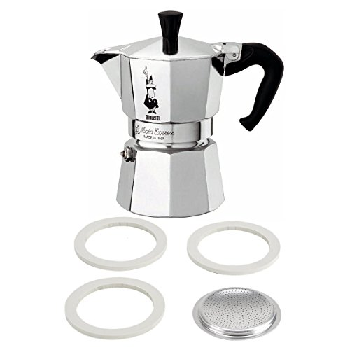 Bialetti Stovetop Cappuccino Maker - Bialetti Moka Express Aluminum 6 Cup Stove-top Espresso Maker with Replacement Filter and Gaskets
