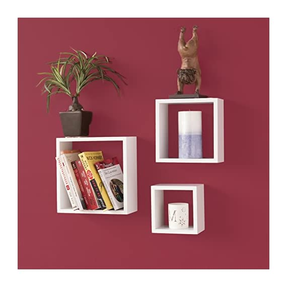 Wallniture Compact Living Room Decorative Display Cubes Floating Shelves Set of 3 White - Get More for Your Buck: With your purchase today, you will get more for a good price. You can decorate a large wall space with this cube shelf set, all you need to do is add a few of your home décor objects, or showcase your awards and trophies proudly. Sturdy Construction: The solid wood material will help you organize Knick knacks, collectibles, plants, candles, CDs, DVDs, books, toiletry, or other necessities that need a home. Guaranteed to keep you satisfied, these shelves will not break, buckle or bend. Easy Installation: There's no hard assembly or installation required with your purchase of this set, these shelves are easy to install on your wall and the mounting hardware is included in the packaging to help you create a high-end design without any hassle or frustration. - wall-shelves, living-room-furniture, living-room - 41fST1drQtL. SS570  -