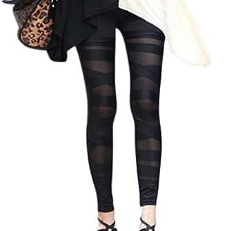 Mapletop Women Elasticity Skinny Mesh Splicing Stretchy Pants Leggings Pants