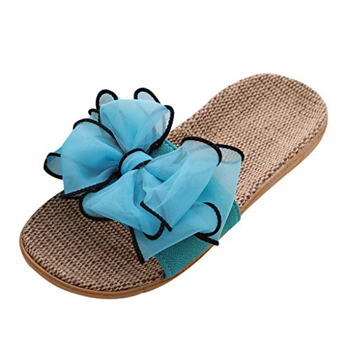 ✔ Hypothesis_X ☎ Womens Cozy Indoor Cotton Flax Home Slippers Non-Slip Casual Sandals Bohemia Bowknot Beach Shoes Blue