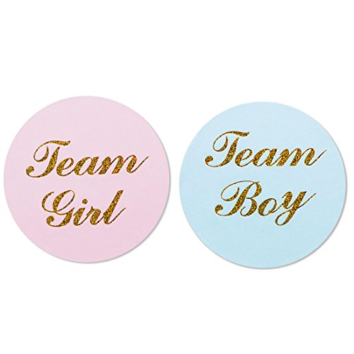 "MAGJUCHE 80-Pack, 2"" Gold Gender Reveal Stickers, Team boy and Team Girl Baby Shower Sticker -"