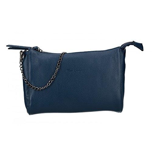 Bolsa mujer de hombro mini PIERRE CARDIN azul en cuero Made in Italy VN2745