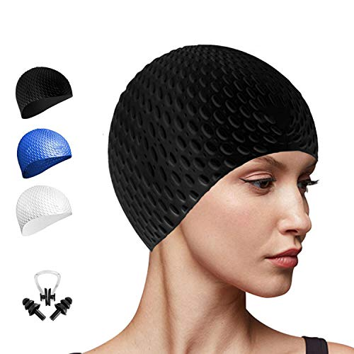 (Go-sport Silcone Swim Cap for Long/Curly Hair Swimming Cap Women Men Kids All Ages and All Hair Lengths with Nose Clip and Ear Plug)